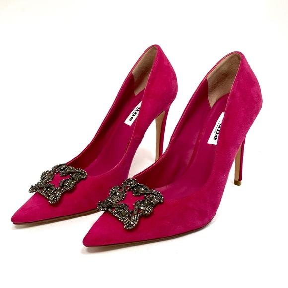 Pink Suede Heels Size 38 Us 75   Poshmark